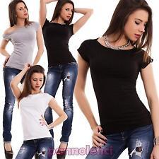 Maglia donna maglietta t-shirt elastica maniche corte barchetta nuova T5250