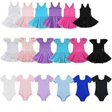 Girls Children Ballet Dance Dress Tutu Skirt Cotton Leotard Gymnastics Costume
