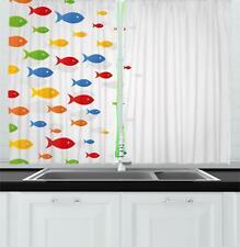 "Ocean Fauna Kitchen Curtains 2 Panel Set Window Drapes 55"" X 39"""