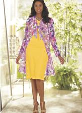 Ashro Formal Summer Church Yellow Pink Jacket Dress 12 14 16 16W 20W 22W 24W