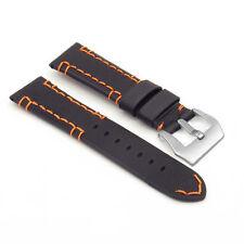 DASSARI Vagabond Leather Black Orange Stitching PANERAI Matte Steel Pre-V Buckle