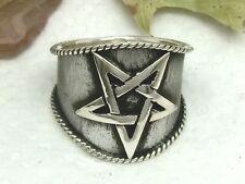 Breiter Pentagramm Ring 925 Silber Ring