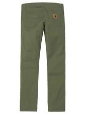 Pantaloni carhartt uomo rebel pant vita bassa slim in cotone verde