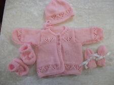New Baby Cardigan, bonnet, chaussons moufles ensemble tricoté à la main 0-3/3-6/6-9 mois