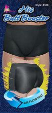 Fullness Men's Boxer Padded Butt Booster, Enhancer Underwear Shapewear, Black