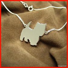 West Highland White Terrier Halskette in 925er Silber, Hund, Anhänger Kette, NEU