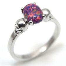 Sterling Silver 1.4ct Oval Cut Dragon's Eye Opal Skull Ring (OP76)