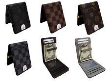 Mens Wallet Money Clip Card Holder ID Card Travel pu Leather Black Grey
