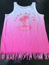 Mädchen Sommer Top T-Shirt Spagetti Neon Rosa Palmen Glitzern