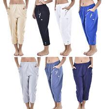 Womens Elasticated 3/4 Capri Trousers Pockets Crop Bottom Ladies Plus Size Pants
