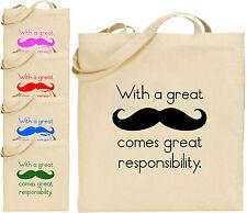 Gran bigote gran responsabilidad Bolso Grande de algodón bolso de compras Presentes Divertidos