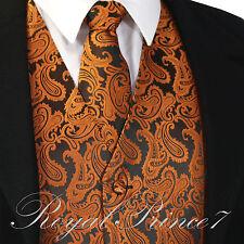 Rust Orange XS to 6XL Paisley Tuxedo Suit Dress Vest Waistcoat & Neck tie Prom