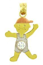 Fine Three Tone Gold April Birthstone Crystal Clear CZ Baby Boy Charm Pendant