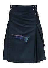 New Active Men Black Cargo Utility Fashion Kilt