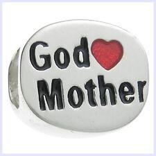 .925 Sterling Silver Love God Mother Red Heart Enamel f/ European Charm Bracelet