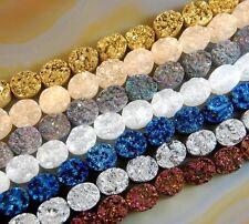 2 pieces DRUZY QUARTZ AGATE Dos Plat Cabochon Ovale 10x8mm Gemstone Beads