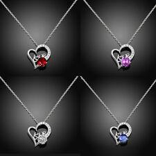 Halskette mit Herz Anhänger 925 Silber plattiert Zirkonia Kette für Damen Frauen
