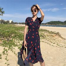 Cerise Robe moulante imprimée à la mode coréenne Robe maxi à manches courtes~PL
