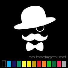 Gentleman Sticker Vinyl Decal - Sir Hat Monocle Mustache Tie Car Window Bumper