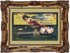 """ART NOUVEAU VICTORIAN Dragonfly FAIRY """" Temptation """" Romantic Antique ART PRINT"""