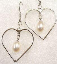 De Mujer Vintage 925 Maciza Corazón de Plata Negro Perla Blanca Grande Loud