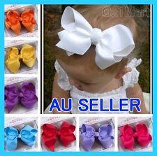"20 Colors 6"" Baby Big Ribbon Bows Headband HairBand Toddler Girls Christening"
