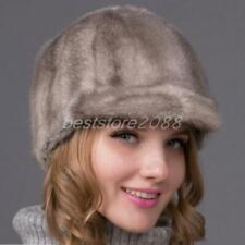 Women 100% Real Mink fur handmade Ladies Ski Princess Hat peaked cap knight hats