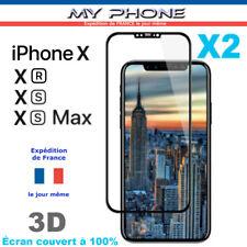 VERRE Trempé IPHONE X XR XS / MAX BLANC/NOIR Vitre Protection Ecran Intégrale 3D