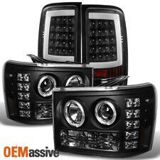 For 07-13 Sierra Black Dual Halo LED Projector Headlights+LED Tail Brake Lights