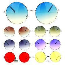 Womens Hippie Retro Groovy Gradient Oversize Circle Lens Round Runway Sunglasses