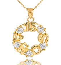 14K Yellow Gold 15 Quinceañera Años 5 CZ Stones Round Pendant Necklace
