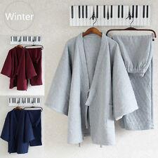 Uomo Inverno Yukata Kimono Pigiama Spessa Pantaloni Di Cotone Set Tute Piagiami