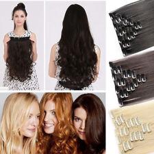 100% Natural Hair Clip in Hair Extensions 8 Pieces Full Head Real Human Hair US