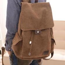 Mens Women Backpack Vintage Hiking Satchel Military Rucksack Canvas Shoulder Bag