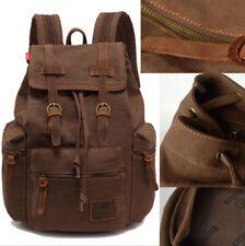 Vintage Canvas Leather Backpack Rucksack School College Work Travel Bag Laptop