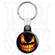 Halloween Pumpkin Teeth Lantern - 25mm Keyring Button Badge with Zip Pull Option