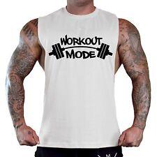 Men's Graffiti Workout Mode White T-Shirt Tank Top Gym Fitness Lift Muscle V122