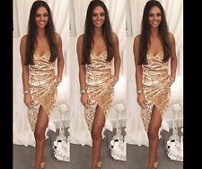 Women Velvet Wrap Ruched Strappy Low Draped Bustline Slit Party Evening Dress UK