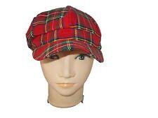 Red/blue Tartan cotton Baker boy flat cap 2 colours one size