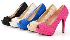 Shoes Court shoes tipo lace heel 11,8 cm black white pink blue beige 8446