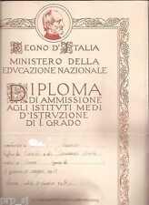 DIPLOMA LICEO GINNASIO SCUOLA ALFIERI TORINO REGNO ITALIA 1934 MAZZINI PAGELLA