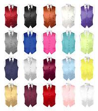 Biagio Men's SILK Dress Vest NeckTie Solid Color Neck Tie Hanky Set for Suit Tux