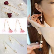 Women's Elegant Lady Pearl Crystal Flower Long Drop Dangle Earrings Jewelry Gift