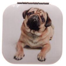 Pug and Kisses Compact Make Up Mirror Cute Pug Dog Design Square & Circle Shape