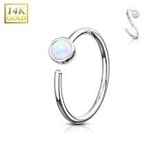 14K WHITE GOLD Opal Hoop /Loop NOSE /EAR RINGS Cartilage Helix Piercing Jewelry