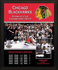 "CHICAGO BLACKHAWKS 2013 Stanley Cup Champions 8x10"" Plaque"