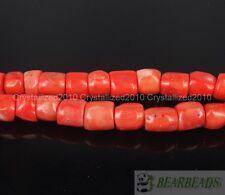 "Natural Orange Coral Gemstone Chunky 12mm - 13mm Tube Spacer Loose Beads 16"""