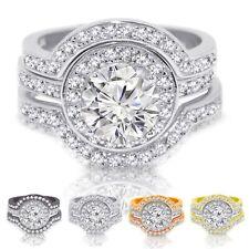 Halo Round Simulated Diamond Black, White, Rose, Yellow Gold Engagement Ring Set