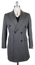 New $6300 Luigi Borrelli Gray Cashmere Solid Coat - (CULB209130)