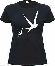 Ladies T-Shirt - Swallows - Black - Size S to XL - Rockabilly Swallow Schwalbe